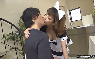 Contaminated Japanese gal Yume Aino flashes boobies with an increment of gives exact titjob