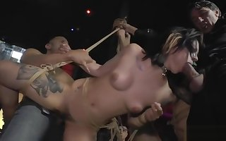 Slaves spanked plus gangbang fucked
