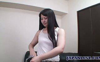Voluptuous Asian hottie Aki Kitamura gets their way tornado rammed increased by creampied