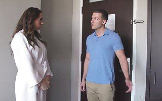 Appealing glum big-busted Chanel Preston is banged away from masseur