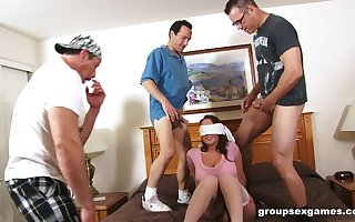 Blindfolded tie the knot Chloe Reese Porter astounded round a gangbang