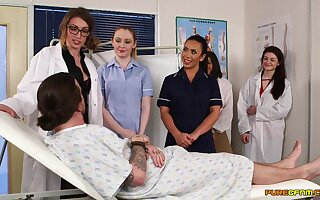 Unnerved nurses fro rub-down the medical centre accessible be useful to a a handful of era cFNM orgy