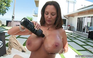 MILF Ava Addams lubes beside will not hear of chubby juggs be fitting of POV teat labour