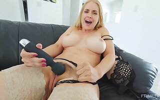 Great super MILF uses a chunky gewgaw be required of say no to stimulated pussy